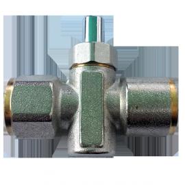 Кран пробковый кнопочный для монтажа манометра Ду15