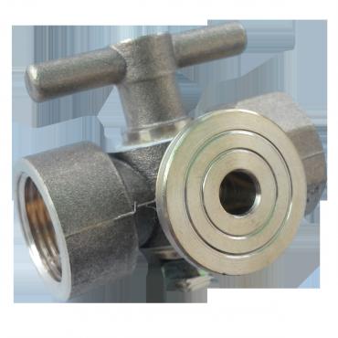 Кран пробковый трехходовой 11б18бк Ду15 (под манометр) с контрольным фланцем